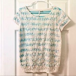 Lauren Conrad Short Sleeve Lace Shirt NWOT